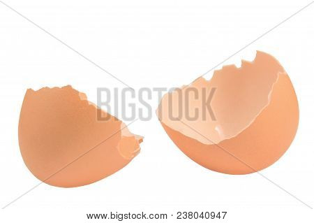 Broken Eggshell Closeup, Isolated Cracked Brown Empty Egg Shell Macro Detail, Bright Detailed Studio