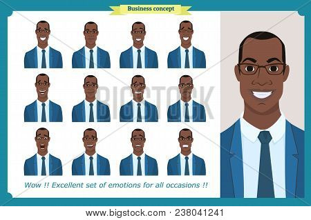 Set Of Male Facial Emotions.black American Business Man Character With Different Expressions.vector