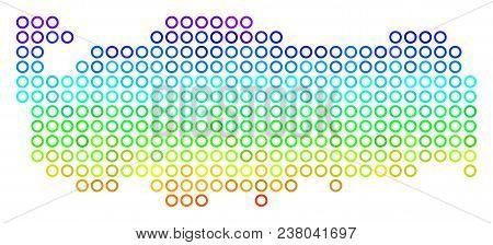 Spectrum Turkey Map. Vector Geographic Map In Bright Spectrum Color Color Tints. Spectrum Has Vertic