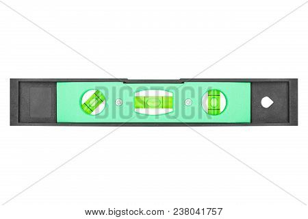 Compact Bubble Level Tool. Professional Measuring Instrument Close-up Isolated On White Background