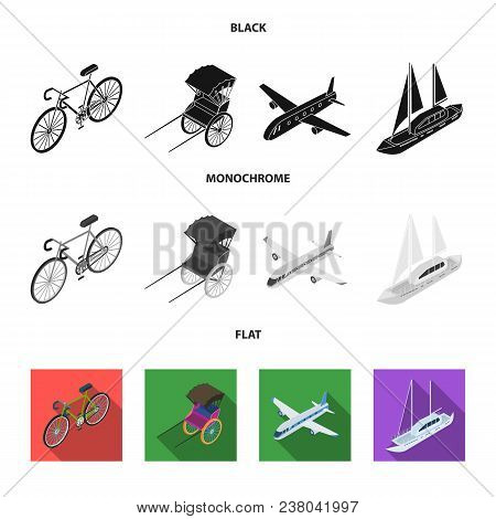 Bicycle, Rickshaw, Plane, Yacht.transport Set Collection Icons In Black, Flat, Monochrome Style Vect