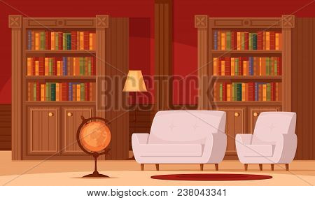 Traditional Library Interior Flat Orthogonal Composition With Bookshelves Terrestrial Globe Lamp Com
