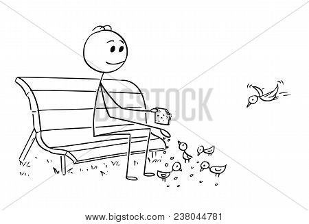 Cartoon Stick Man Drawing Conceptual Illustration Of Businessman Relaxing On Park Bench And Feeding