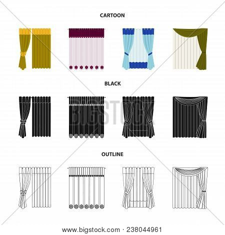 Curtains, Drapes, Garters, And Other  Icon In Cartoon, Black, Outline Style. Textiles, Furniture Bow