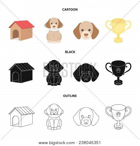 Dog House, Protective Collar, Dog Muzzle, Cup. Dog Set Collection Icons In Cartoon, Black, Outline S