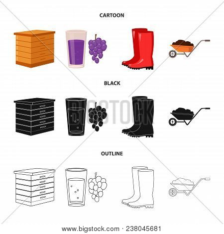 Hive, Grapes, Boots, Wheelbarrow.farm Set Collection Icons In Cartoon, Black, Outline Style Vector S