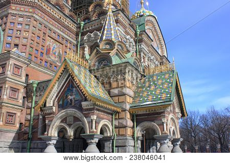 Ornamental Exterior Architecture Details Of Church Of Our Savior On Spilled Blood (cathedral Of Resu