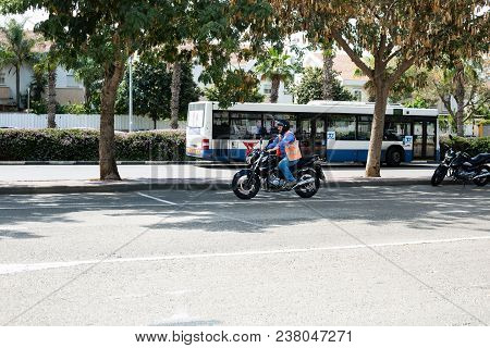 Rishon Le Zion, Israel - April 18, 2016: Beginner Rides On The Motorbike On The Skill Training Motor