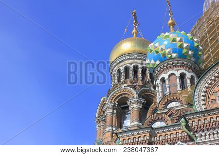 Architecture Of Old Historic Church Of Our Savior On Spilled Blood In St. Petersburg, Russia. Religi