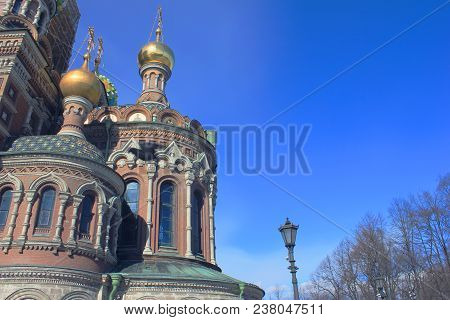 Vintage View Of Golden Domes Architecture Of Church Of Our Savior On Spilled Blood In Saint Petersbu