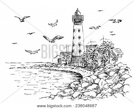 Landscape Lighthouse. Sea And Seagulls Sketch. Hand Painted Lighthouse And The Sea. Rocky Shore Grap