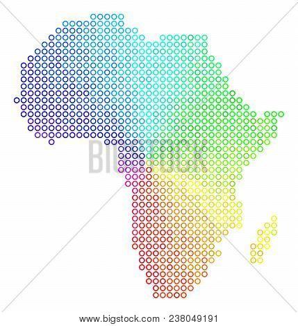 Spectrum Africa Map. Vector Geographic Map In Bright Spectrum Color Tinges. Spectrum Has Circular Gr