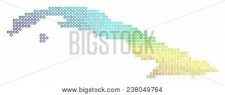 Spectral Cuba Map. Vector Geographic Map In Bright Spectral Color Tones. Spectrum Has Circular Gradi