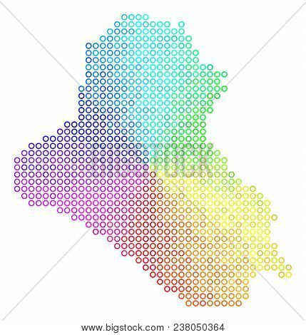 Spectrum Iraq Map. Vector Geographic Map In Bright Rainbow Color Color Tints. Spectrum Has Circular