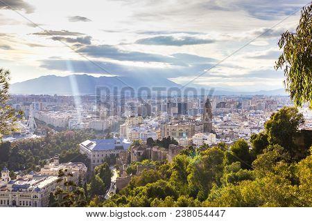 Aerial View Of Malaga With Alcazaba, Cityhall, And Cahedral Of Malaga, Spain