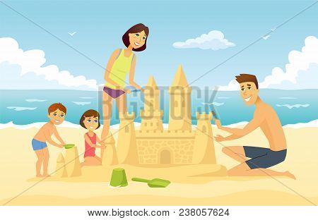 Happy Family On Vacation - Cartoon People Character Illustration. Young Smiling Parents Building A S
