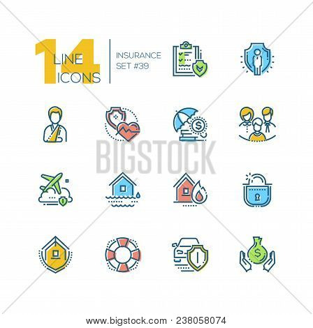 Insurance - Set Of Line Design Style Icons Isolated On White Background. Colorful Pictograms. Contra