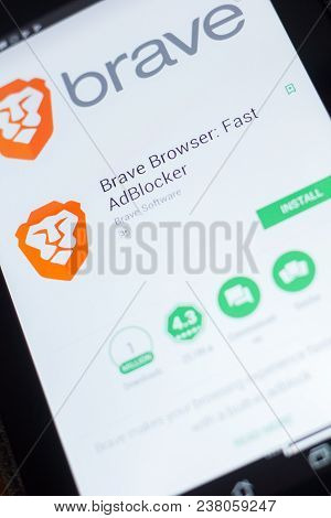 Ryazan, Russia - April 19, 2018 - Brave Browser - Fast Adblocker Mobile App On The Display Of Tablet