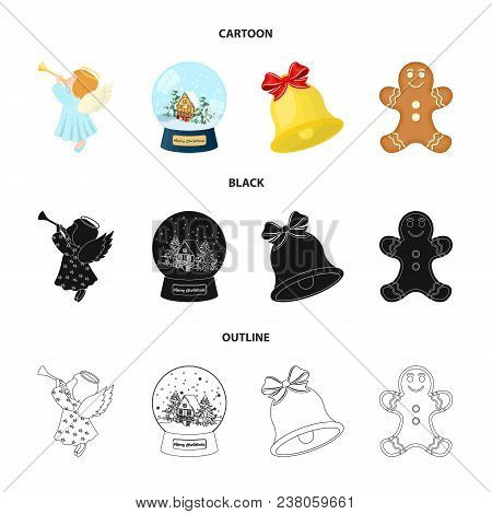 Angel, Glass Bowl, Gingerbread And Bell Cartoon, Black, Outline Icons In Set Collection For Design.