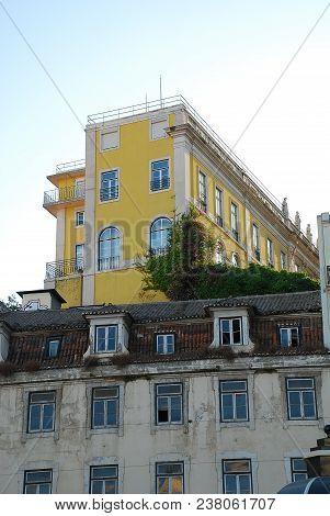 Typical House Facade In Lisbon, Portugal, District: Bairro Alto. Bairro Alto (literally: Upper Distr