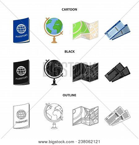 Vacation, Travel, Passport, Globe .rest And Travel Set Collection Icons In Cartoon, Black, Outline S