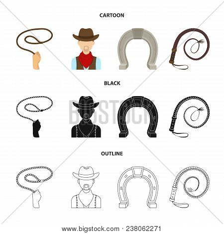 Hand Lasso, Cowboy, Horseshoe, Whip. Rodeo Set Collection Icons In Cartoon, Black, Outline Style Vec