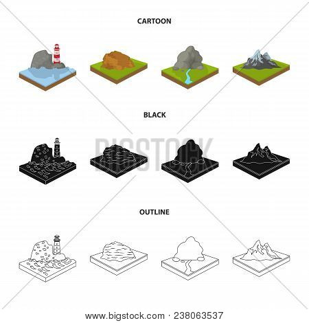 Mountains, Rocks And Landscape. Relief And Mountains Set Collection Icons In Cartoon, Black, Outline