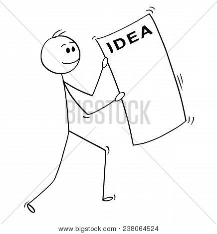 Cartoon Stick Man Drawing Conceptual Illustration Of Happy Businessman Carrying Big Sheet Of Paper W