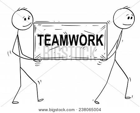Cartoon Stick Man Drawing Conceptual Illustration Of Two Businessmen Carrying Big Stone Block With T