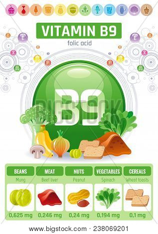 Folic Acid Vitamin B9 Rich Food Icons. Healthy Eating Flat Icon Set, Text Letter Logo. Diet Infograp