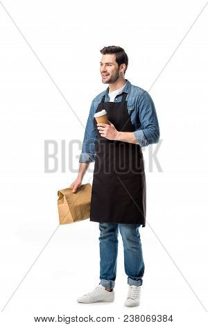 Smiling Waiter In Apron With Order To Go In Hands Isolated On White