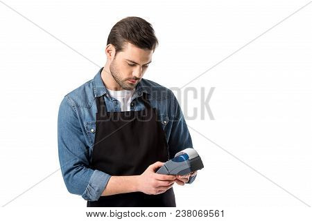 Portrait Of Waiter In Apron With Cardkey Reader In Hands Isolated On White