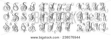 Calligraphy Letters Set S, T And U, Script Font Isolated On White Written With Ink, Vector Illustrat