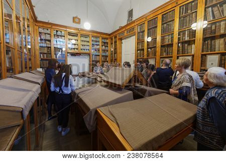 ST. PETERSBURG, RUSSIA - APRIL 20, 2018: People on the tour to the National Library of Russia during Library Night. All-Russian annual reading fest Library Night is held in 7th time this year