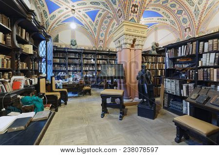 ST. PETERSBURG, RUSSIA - APRIL 20, 2018: Depository of rare books known as Faust's Study in the National Library of Russia during Library Night. Annual reading fest Library Night is held in 7th time