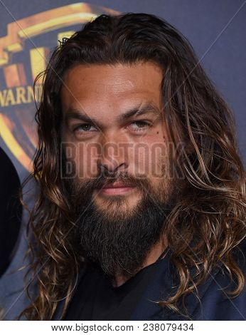 LOS ANGELES - APR 24:  Jason Momoa arrives for the Warner Bros panal at CinemaCon 2018 on April 24, 2018 in Las Vegas, NV