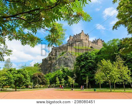 Edinburgh, United Kingdom - June 14, 2013: Edinburgh Castle On The Rock Over Edinburgh, Scotland, Uk