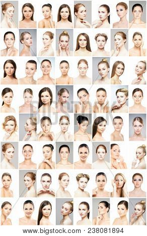 Beautiful faces of young and healthy women. Plastic surgery, skin care, cosmetics and face lifting concept.