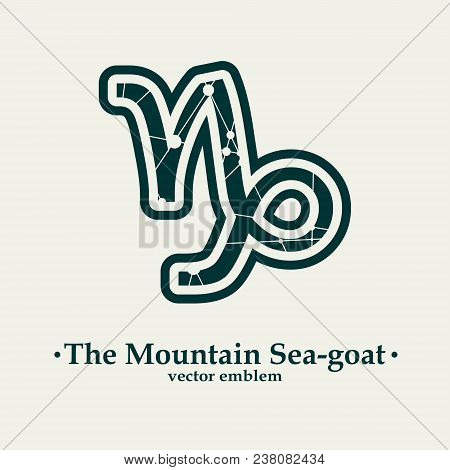 Zodiac Symbol Textured By Connected Lines With Dots Pattern. Sign Of The Mountain Sea Goat