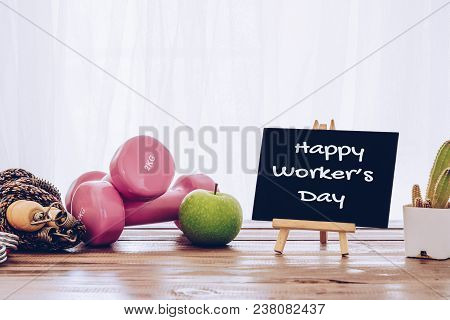 Happy International Worker's Day With Exercise Fitness Healthy Living Concept. Active Fit Lifestyle