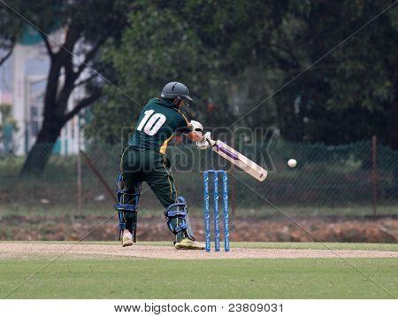 PUCHONG, MALAYSIA - SEPT 24: Guernsey's batsman David Hooper bats at the Pepsi ICC World Cricket League Div 6 finals against Malaysia at the Kinrara Oval on September 24, 2011 in Puchong, Malaysia.
