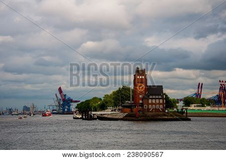Hamburg Harbour Pilots Association Building And Haburg Harbour In Hamburg On 11.may.2014