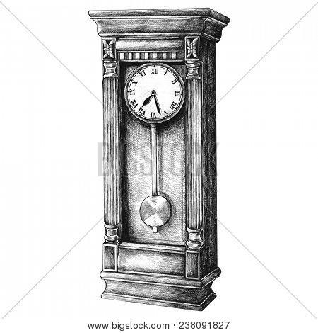 Hand drawn longcase clock retro style