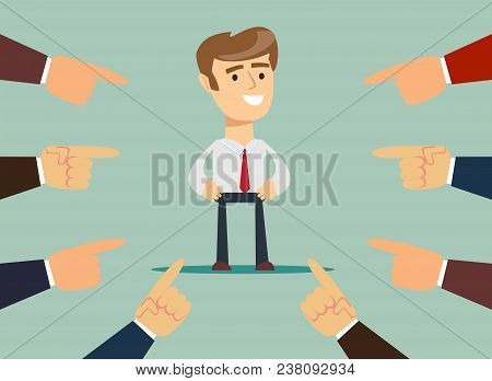 Illustration Of Businessman With Fingers Pointing At Him. Stock Flat Vector .