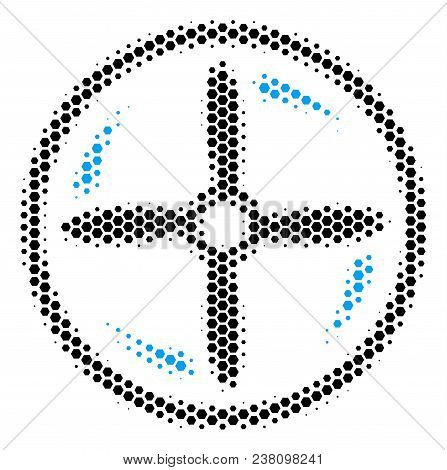 Halftone Hexagon Drone Screw Rotation Icon. Pictogram On A White Background. Vector Concept Of Drone