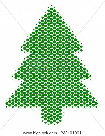 Halftone Hexagon Fir-tree Icon. Pictogram On A White Background. Vector Pattern Of Fir-tree Icon Des