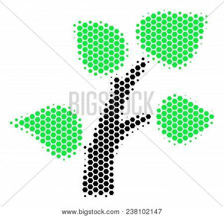 Halftone Hexagon Flora Plant Icon. Pictogram On A White Background. Vector Composition Of Flora Plan