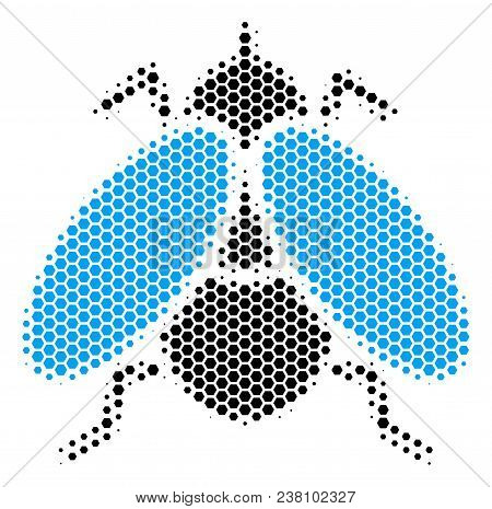 Halftone Hexagon Fly Insect Icon. Pictogram On A White Background. Vector Collage Of Fly Insect Icon