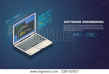 Isometric Laptop With Software For Development. Soft, Web Or Game Development Software. Web Pages An
