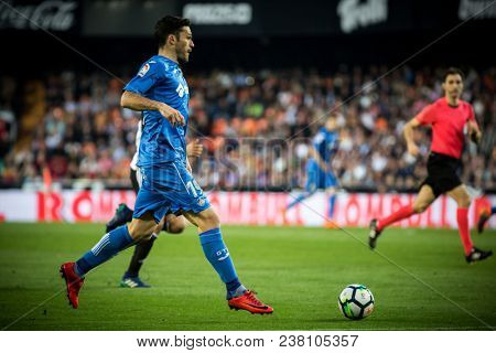 VALENCIA, SPAIN - APRIL 18: Molina during Spanish La Liga match between Valencia CF and Getafe CF at Mestalla Stadium on April 18, 2018 in Valencia, Spain